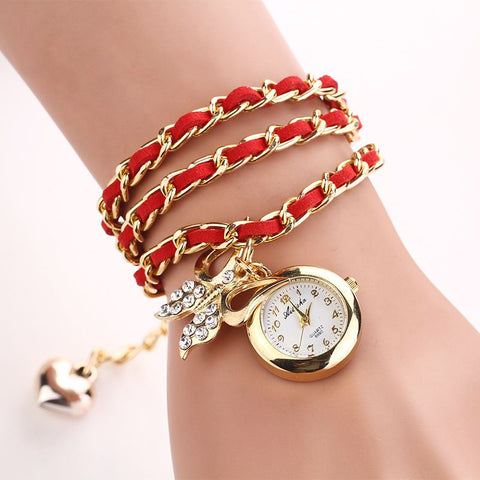 Women Watches PU Leather Watch Mix Chain Strap charm wristwatch vintage bracelet Rhinestone butterfly Clocks 2018