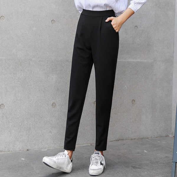 Women black breathable pants thin casual pants size pencil trouser Joggers Casual Baggy High Waist Trousers Femme Pantalon Mujer - thefashionique