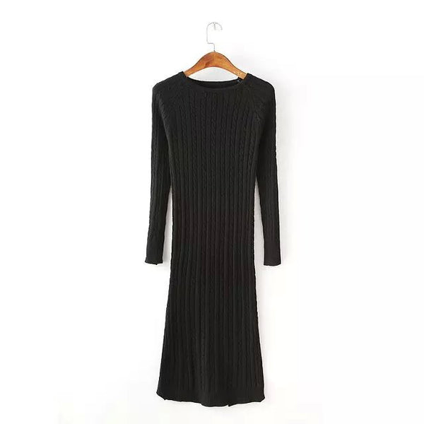 Women fashion Twisted Back Slit Sweater Dress Solid dames knitted pull Femme Long sleeve midi pullover Sweater Dresses - thefashionique