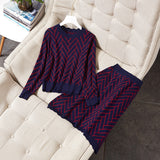 Women geometric patterns jacquard knitted sweater  elegant pullovers + a-line skirt suits 2 piece set new 2018 autumn blue beige - thefashionique
