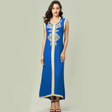 Women islamic clothing Maxi sleeveless long Dress moroccan Kaftan embroidery dress vintage abaya Muslim Robes gown hijab style - thefashionique