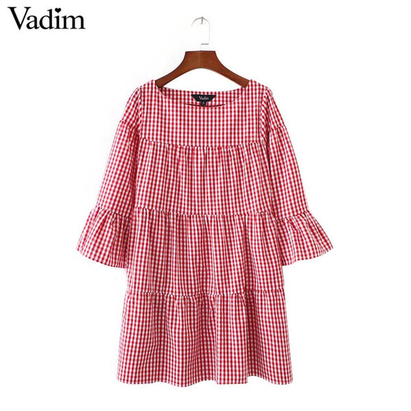 Women oversized pleated plaid dress summer elegant checkered flare sleeve loose casual sweet dresses vestidos QZ2821 - thefashionique