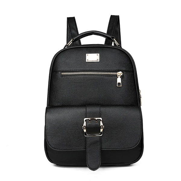 Women's Backpack Simple And Comfortable Elegant Neutral Female Bag Pu Leather  Knapsack Soft Back Business Computer Bag - thefashionique
