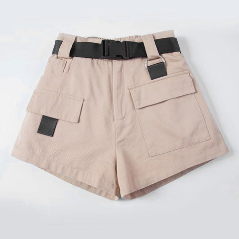 Women's High Waist Wide Leg Cargo Shorts Black Khaki Sashes Pocket Women Shorts 2019 Summer Vintage Zipper Safari Female Clothes - thefashionique
