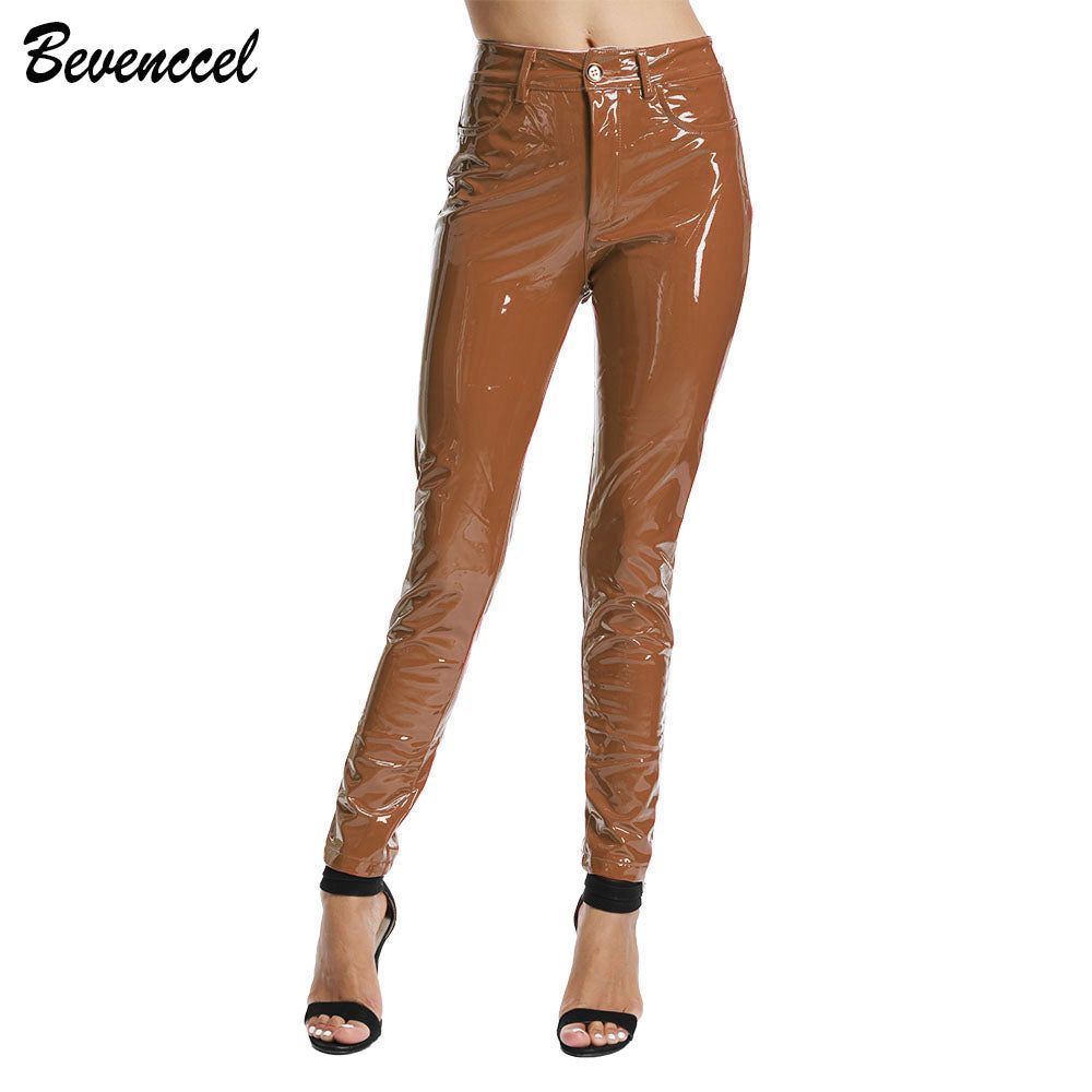 Women's PU Leather Pants Sexy Stretch Brown Bodycon Winter Women Leather Pants Trousers Pantalon Femme - thefashionique