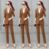 Women's Sets Work Pant Suits 3 Piece Set for Women Single buckle Striped Blazer Jacket & Trouser shirt Office Lady Suit Feminino - thefashionique