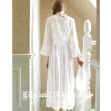Women s Sexy Lace V Neck Nightdress Summer Vintage Cotton White Nightgowns  Home Sleeping Dress For Women 0e47bb1a0