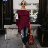 Women's T-Shirts Autumn Spring Fashion Off Shoulder Irregular Long Sleeve T-Shirt  Women Tops Tees  Tshirt Women - thefashionique