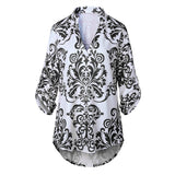 Women's T-Shirts Summer Tops Tee Shirt V-Neck Three Quarter Sleeve Floral T-Shirt Femme Slim Casual Tshirts Women Clothes Autumn - thefashionique