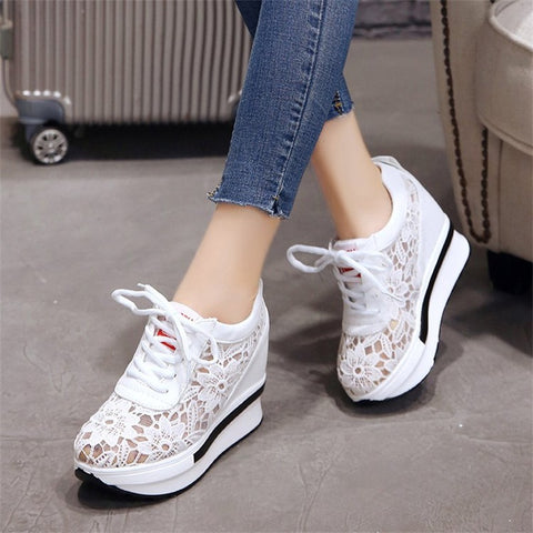 Women's Vulcanize Shoes 2018 Spring Autumn Fashion Female Footwear New Lace-Up Breathable Ladies Platform Shoes YBT1011