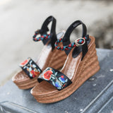 Women's Wedges 8cm High Heel Sandals New Genuien Leather Ethnic Embroidery Shoes Summer Ladies Sandals With Platform - thefashionique