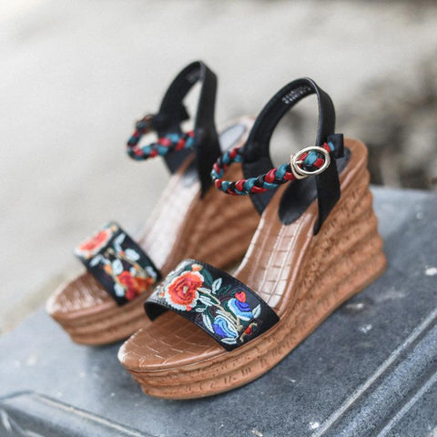1b39491b19 Women's Wedges 8cm High Heel Sandals New Genuien Leather Ethnic Embroidery Shoes  Summer Ladies Sandals With