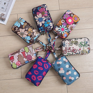 Women's handbag canvas three-layer long wallet large capacity key coin purse leisure mobile phone bag