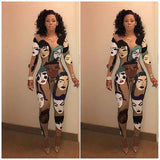 Women's long-sleeved tight-fitting sexy print nightclub jumpsuit Multicolor Hot Fashion Design Novelty Bodycon Rompers long Pant - thefashionique