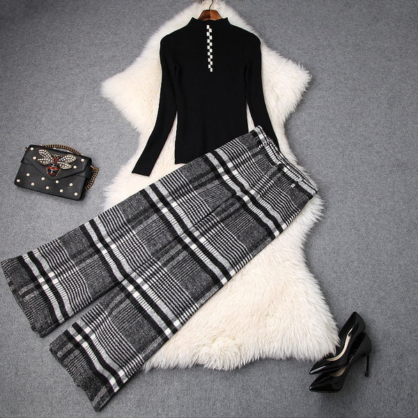 Women sexy sheath black tops knit T-shirts + thick long pants suits geometric plaid 2 piece set new 2018 autumn winter - thefashionique