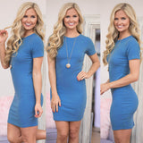 Women summer  sexy Round neck short sleeve Slim bodycon  dress - thefashionique