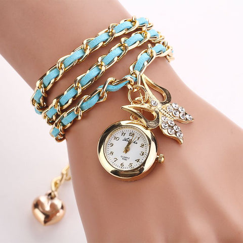 Women vintage bracelet Rhinestone butterfly Clocks Hand Chain With Bowtie pendant Watches Leather Mix Strap wristwatch