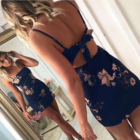 Womens Dresses New Arrival 2018 Summer Spaghetti Strap Dress Ladies Printing Floral Sexy Club Backless Casual Mini Dress