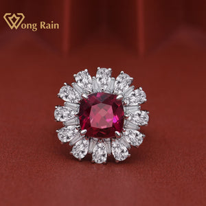 Wong Rain Vintage 100% 925 Sterling Silver Created Moissanite Ruby Gemstone Engagement Wedding Ring Fine Jewelry Gift Wholesale