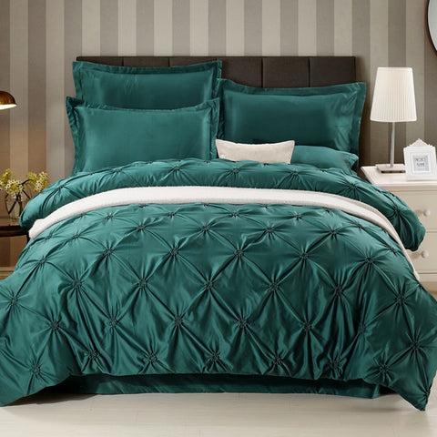 Wongsbedding Luxury Silk Pinch Pleat Bedding Set Solid Color Green Satin European Duvet Cover Queen Kings Beddings 3PCS