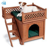 Wood Dog House in door Fiddle Teddy Four Seasons General House Luxury Dog House With Stairs Dog House Villa large dog bed
