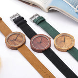 Wood Watch Women Men Casual Leather Strap Quartz Wooden Watch Minimalist Watch Ladies Christmas Gifts Reloj Mujer - thefashionique