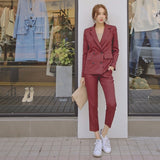 Work Fashion Pant Suits 2 Piece Set for Women Double Breasted Striped Blazer Jacket & Trouser Office Lady Suit Feminino 2018 - thefashionique