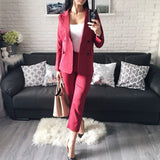 Work Pant Suits OL 2 Piece Sets Double Breasted Striped Blazer Jacket & Zipper Trousers Suit For Women Outfits Feminino Spring - thefashionique