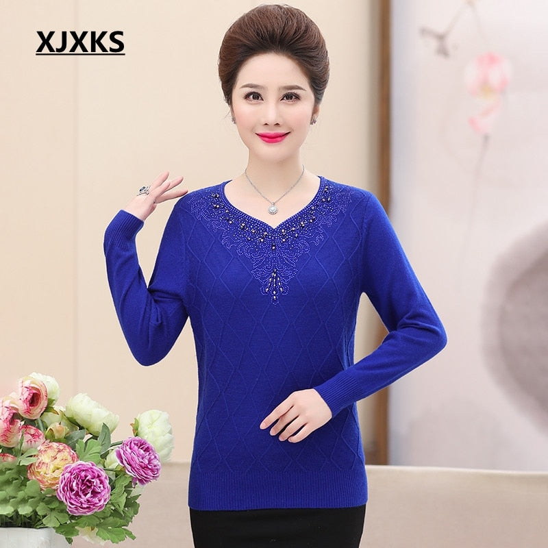 XJXKS autumn and winter woman sweater knitting pullovers beading casual  v-neck knit sweater women. prev 3aeb250db