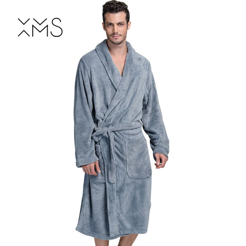 XMS Brand Thick Flannel Men s Bath Robes Gentlemen Homewear Male Sleepwear  Lounges Pajamas Bathrobes Winter Autumn 247d3a879