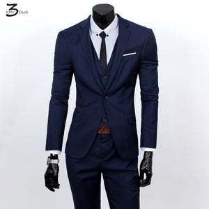 XMY3DWX(jackets+vest+pants) fashion male quality slim high-grade cotton business BLAZER/Men groom dress suit three-piece/jackets - thefashionique