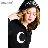 XUANCOOL Hoodies Women Gothic Punk Style Moon Letters Printed Long Sleeve Pullover Ladies Coat Witches Hat Sweatshirts Plus size - thefashionique
