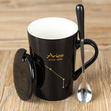 XYKIT 12 Constellations Black And Gold Bone China Porcelain Coffee Milk Mug With Stainless Steel Spoon Zodiac ceramic cup 400ML - thefashionique