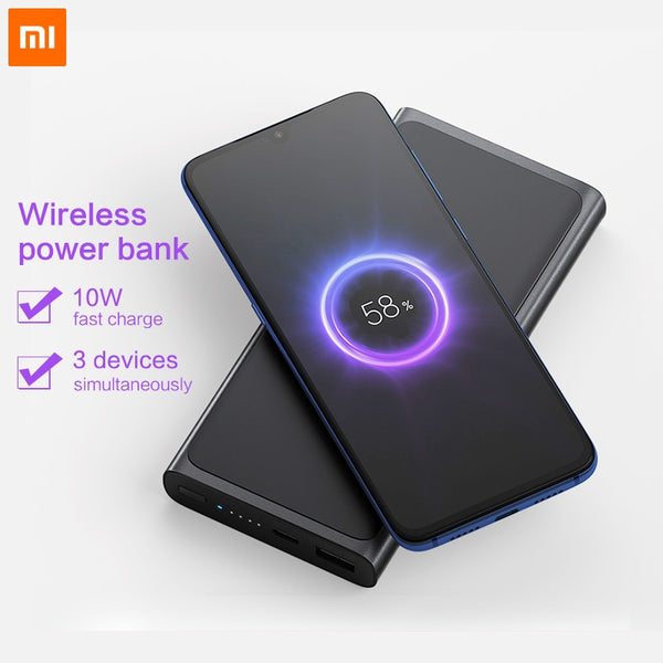 Xiaomi Wireless Power bank 10000mAh Qi Fast Wireless Charger  PLM11ZM USB Type C Mi Powerbank 10000Portable Charging Power bank - thefashionique