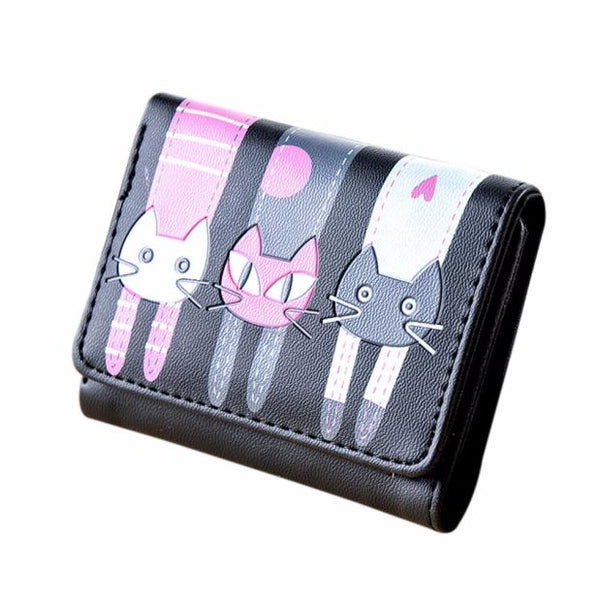 Xiniu Women Ladies Girls Cat Pattern Coin Purse Short Wallet Card Holders Lovely Cat Print - thefashionique