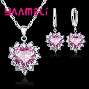 YAAMELI New Suit Heart Shape  Fashion Women Wedding Silver Jewelry Set Crystal Earring Necklace Pendant Rhinestone Hot Sale - thefashionique