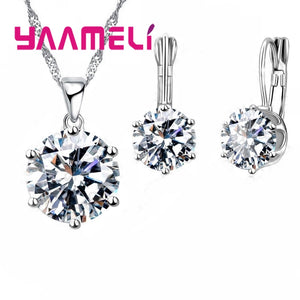 YAAMELI Statement Jewelry Sets 925 Sterling Silver Candy Color Cubic Zirconia Pendant Necklace  Earring Wedding Accessories - thefashionique
