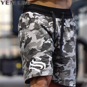 YEMEKE Men's Shorts Summer Fashion Military Trunks French Terry Cotton Casual Hip Hop Male Short  white camouflage - thefashionique