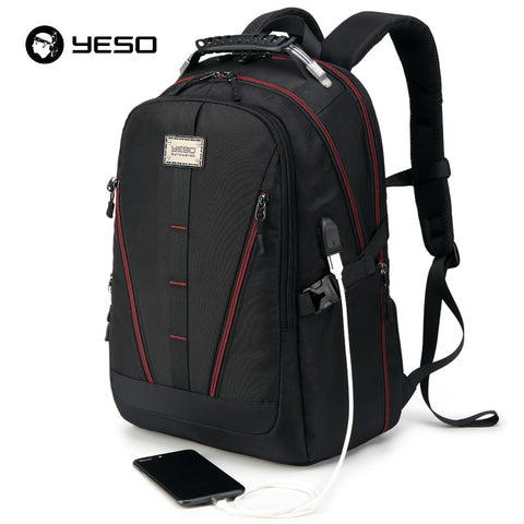 YESO USB Charging Backpack Men Large Capacity Multifunction Teenager Waterproof Oxford Travel Laptop Backpacks For Women Men Bag - thefashionique