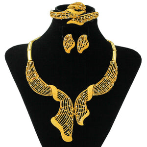 YIWU CZ New Listing Fashion African Women Jewelry Nigerian Wedding Engagement Jewelry Gold Necklace Earrings jewelry sets & more - thefashionique