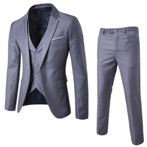 YJSFG HOUSE Brand Male Suits Blazer Slim Fit Business Formal Dress Waistcoat Groom Best Man Suit Exquisite Weeding Office Pants - thefashionique