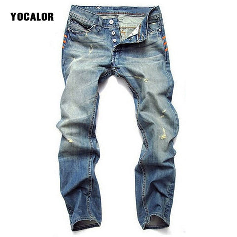 YOCLAOR Men's Streetwear Denim Pants Skinny Jeans Trousers Male Button Man Jeans Fitness Bodybuilding Stretch Big Size Hole Blue