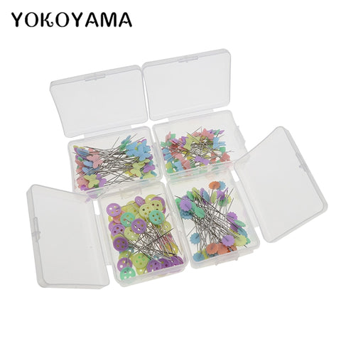YOKOYAMA Sewing Accessories Patchwork Flower Bow Tie Button Pins Sewing Pin With Box DIY Sewing Patchwork Pins Arts Crafts
