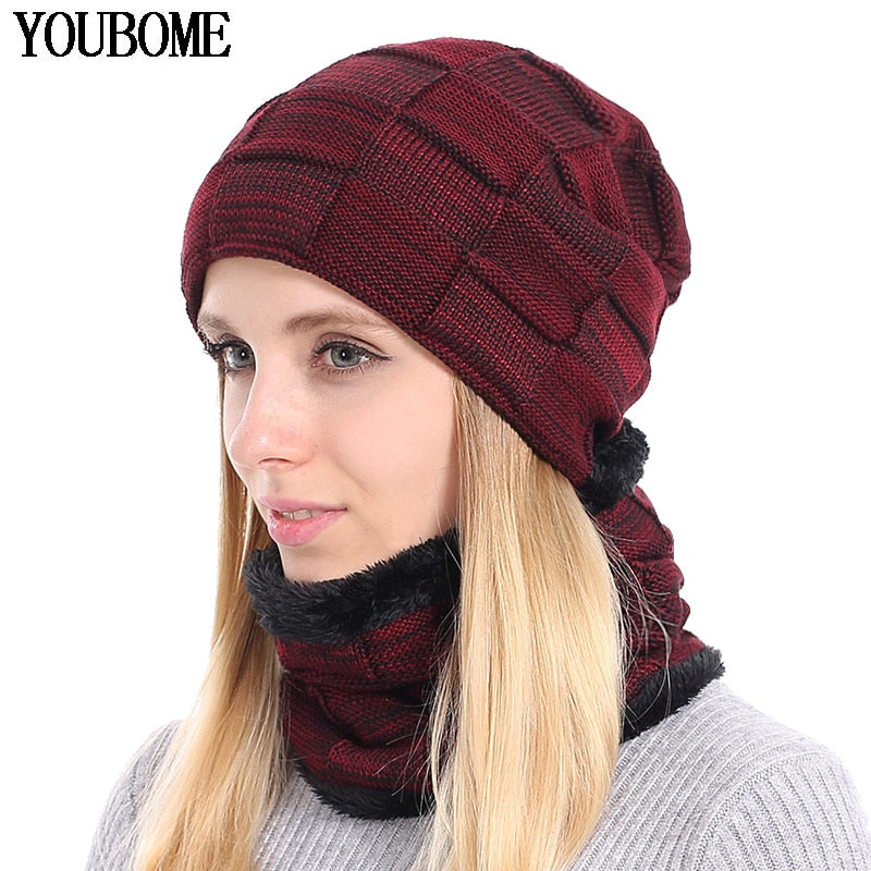 48eaddc4 YOUBOME Knitted Hat Scarf Winter Skullies Beanies Female Winter Hats For  Women Men Baggy Ring Warm Thicken Fashion Cap Hats 2018 - black gray