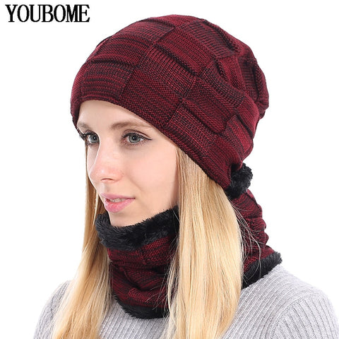 aa73f66e91dd4 YOUBOME Knitted Hat Scarf Winter Skullies Beanies Female Winter Hats For Women  Men Baggy Ring Warm