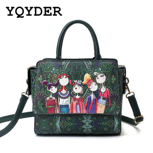 YQYDER 2017 Women Bag Patchwork Forest Girl Green Flap Bag Designer Leather Fashion Messenger Bags Ladies Single Shoulder Bag - thefashionique