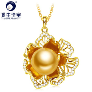 YS 10-11mm Elegant Round South Sea Pearl Pendant 925 Sterling Silver Necklace Anniversary Gift