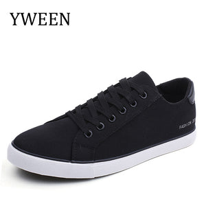 YWEEN Men's Vulcanized Shoes Lace-Up Men Sneakers Classic Style Breathable Canvas Shoes Men - thefashionique