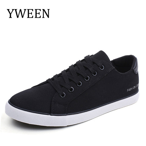 YWEEN Men's Vulcanized Shoes Lace-Up Men Sneakers Classic Style Breathable Canvas Shoes Men