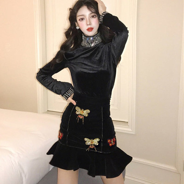 YingYuanFang Heavy duty diamond-studded high-neck velvet long-sleeved top + ruffled embroidered fishtail skirt - thefashionique